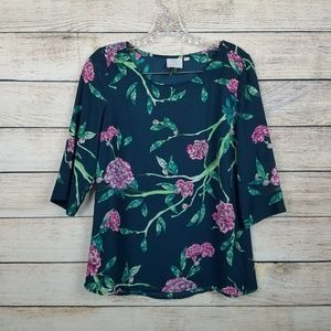 Anthropologie HD in Paris Size 2 Floral 3/4 Sleeve
